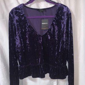 Purple Velvet Long Sleeve Crop Top